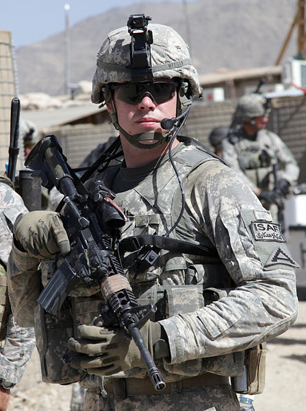 File:Defense.gov News Photo 100608-A-1619C-010 - U.S. Army 1st Lt. Daniel Meegan conducts a combat patrol from Forward Operating Base Baylough in the Zabul province of Afghanistan on June 8 2010.jpg