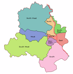Map showing the nine districts of Delhi.