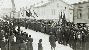 Red Guards (Finland) - A demonstration in Turku in March 1917.