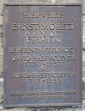 Gedenkplatte zu der Zeit bei David und Josua Hasenclever in Remscheid (Quelle: Wikimedia)