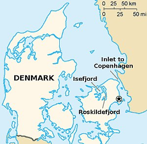 Battle of Copenhagen (1801) - Where the Battle of Copenhagen harbour occurred in 1801, and where Roskildefjord is located. It could have been very dangerous for the British Navy to sail into the fjord, which is very narrow