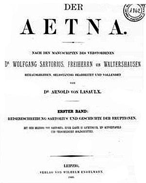 Wolfgang Sartorius von Waltershausen - Front page of Der Aetna