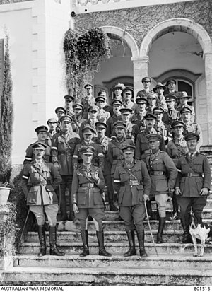 Harry Chauvel - Lieutenant General Sir Harry Chauvel with his Desert Mounted Corps Headquarters staff, in front of his HQ building, now Rehovot, Israel