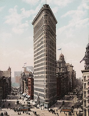 Early skyscrapers - The iconic Flatiron Building, New York City, shortly after its construction in 1903