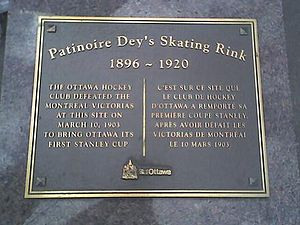 Dey's Arena - Plaque (now lost) at corner of Bay and Gladstone streets, Ottawa