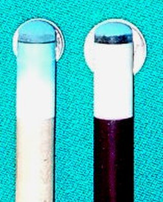 Cue stick - Dime- and nickel-radius cue tips (left to right, respectively)