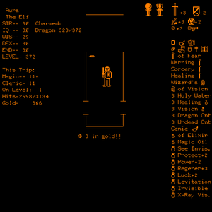 Dnd (video game) - Player about to win dnd: Character is shown in the maze, with both the Orb and Grail (as well as most other magic items and a charmed dragon).