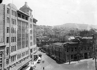 The Dominion (Wellington) - ''The Dominion'''s building on the junction of Wakefield, Victoria and Mercer Streets, Wellington, circa 1930