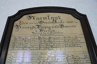 Doopsgezinde kerk, Haarlem - Name board of the ministers (called teachers) and deacons of the church in the 18th century.