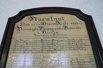 "Abraham de Vries (minister) - Abraham de Vries' name as ""teacher, called 1803"" on the name list of the Doopsgezinde kerk, Haarlem"