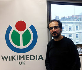 Dr Toni Sant in the Wikimedia UK office.