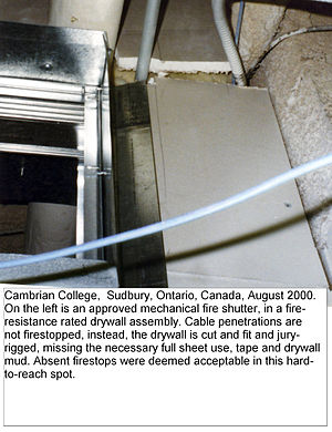 Fire damper - The damper's certification listing is violated because the damper shares the opening with other through-penetrants and the drywall fire-separation is not continuous.