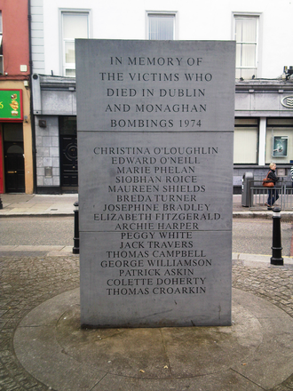 Talbot Street - The front of the memorial erected in Talbot Street to commemorate the 33 victims of the 1974 Dublin and Monaghan bombings