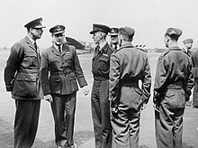 During his visit to RAF Waddington in June 1944, Prince Henry, Duke of Gloucester, meets the crews of No. 467 Squadron RAAF.