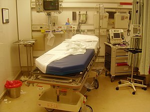 Intensive care bed after a trauma intervention...