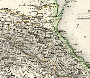 Murid War - Eastern Caucasus on a German map of 1856. Note the unusual spellings