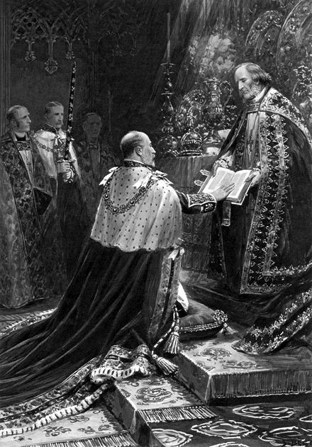 Edward VII taking the oath in 1902 Edward VII coronation oath 1902.jpg