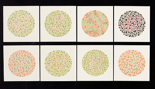 Eight Ishihara charts for testing colour blindness