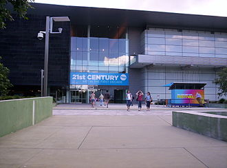 "Gallery of Modern Art, Brisbane - Entrance to GOMA during the exhibition ""21st Century: Art in the First Decade"""