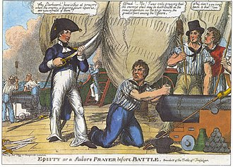 Naval rating - A 19th century cartoon portraying ratings on a Royal Navy ship. The man with a sword is a commissioned officer, as is the man on the ladder with the telescope. All others are ratings.