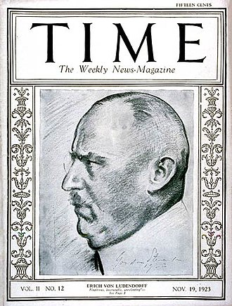 Beer Hall Putsch - Erich Ludendorff on the cover of Time, 19 November 1923.
