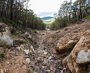 Wilsons Promontory - Erosion damage caused by the March 2011 floods, as viewed southwards towards Lilly Pilly Gully in March 2012.