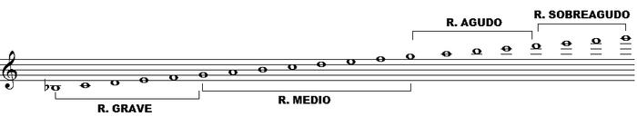Esta tesitura comprende cuatro registros: el «registro grave», que se extiende del si♭ grave al sol situado en la segunda línea del pentagrama, es decir, un intervalo de 6ª (si♭2 - sol3); el «registro medio», que va del sol de la segunda línea del pentagrama al sol inmediatamente superior, es decir, una 8ª por encima (sol3 - sol4); el «registro agudo», que se encuentra entre el sol que está situado encima de la quinta línea, y el re situado una 5ª por encima de dicho sol (sol4 - re5) y el «registro sobreagudo», que va del re agudo al sol situado una 4ª por encima del re (re5 - sol5).