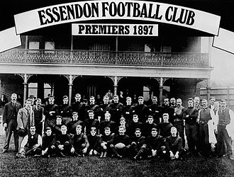 "Essendon won the inaugural VFL premiership by finishing on top of the 1897 round robin finals ladder. A new finals system was implemented during the 1898 VFL season in order that a final match, or ""Grand Final"", determine the premiers. Essendon fc 1897.jpg"