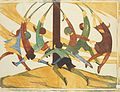 Ethel Spowers. The giant stride, 1933. Linocut.jpg