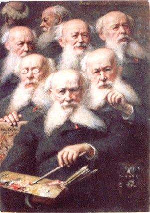 Jacques-Eugène Feyen - Rare multi autoportrait of Eugène Feyen at the age of 91 (private collection)