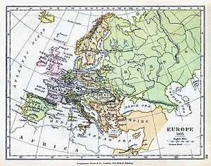 Battle of Navarino - Map of Europe in 1815, after the end of the Napoleonic Wars. Note that since its apogee in the 17th century, the Ottoman Empire had lost Greater Hungary (including Transylvania) to the Austrian Empire and the whole of the region North of the Black sea and Caucasus to the Russian empire. (The map erroneously fails to show that Mesopotamia and the whole of North Africa as far as the Strait of Gibraltar was still under nominal Ottoman suzerainty at this time)