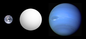 Gliese 1214 b - Size comparison of GJ 1214 b with Earth (left) and Neptune (right).  The actual color of GJ 1214 b is not yet known.