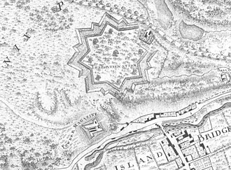 Magazine Fort - Extract from 1757 map, showing Burgh's earthwork fort (demolished 1837) and Corneille's powder magazine
