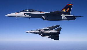 F-14B and FA-18EF VF-VFA-11 Banking Tomcat - 2005.jpg