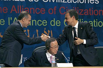 Alliance of Civilizations - Turkish Prime Minister Recep Tayyip Erdoğan (Left), Secretary-General of the United Nations Ban Ki-moon (Center), and Spanish Prime Minister José Luis Rodríguez Zapatero (Right)
