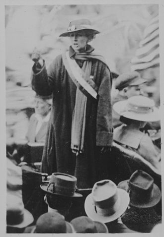 Silent Sentinels - Florence Bayard Hilles, chairman of the Delaware Branch of the NWP and member of the national executive committee, was arrested picketing the White House July 13, 1917, sentenced to 60 days in Occoquan Workhouse. She was pardoned by President Wilson after serving three days of her term.