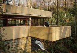 A cantilever balcony of the Fallingwater house, by Frank Lloyd Wright.