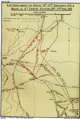 Capture of Damascus (1918) - Falls Sketch Map 38 shows Arab raids on the Hejaz railway between 17 and 27 September, the advance of the Sherifial Army and the 4th Cavalry Division in the Deraa region