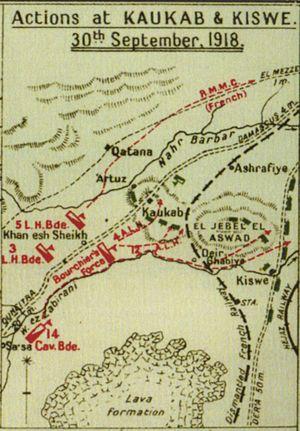 Charge at Kaukab - Detail of Falls sketch map 39 showing the actions at Kaukab and Kiswe