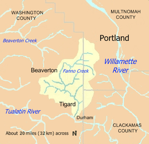 Fanno Creek, which begins in Portland, Oregon, flows west to Beaverton then south through Tigard before entering the Tualatin River near Durham. Fanno Creek's drainage basin lies mainly in Washington County near Beaverton and Tigard and secondarily in Multnomah County near the headwaters. The stream also drains a small part of Clackamas County east of Tigard and south of Portland.