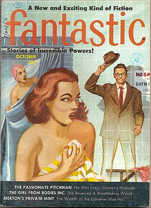 Fantastic (magazine) - The second wish fulfilment cover, for October 1956, by Ed Valigursky