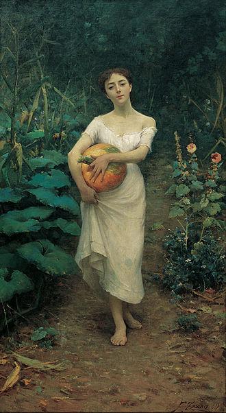Fausto Zonaro - Fausto Zonaro Young Girl Carrying a Pumpkin, 1889