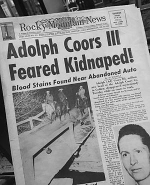 Rocky Mountain News - February 10, 1960 cover of the Rocky Mountain News