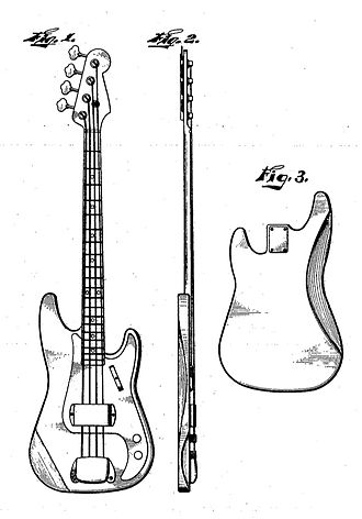 Fender Precision Bass - A patent sketch for the Fender Precision Bass