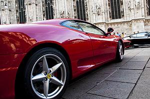 Ferrari in Piazza Duomo, Milan.