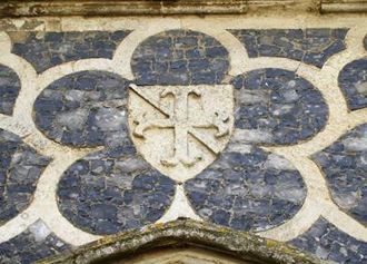Flushwork - Arms of Sir Guy Ferre (d.1323) in flushwork at Butley Priory, Suffolk