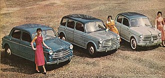 Fiat 1100 - Various versions of the 1100/103 (spring 1955). From right to left: Berlina (sedan), Familiare (estate), TV (Turismo Veloce).