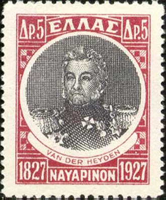 "Login Geiden - Greek stamp issued in 1927 on the 100th anniversary of the Battle of Navarino. Van Heiden's malleable name is here given as ""Van der Heyden""."