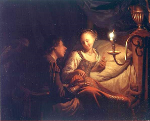 A Man Offering Gold and Coins to a Girl