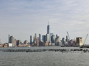 The Financial District of Lower Manhattan viewed from Hoboken, April 2019